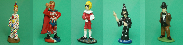 Boffo the clown captain super gerald the wizard and wallace figurines